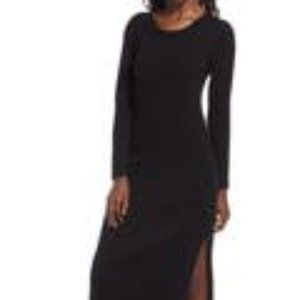 WAYF Black Hollie Bodycon Long Sleeves Knitted Sweater Midi Dress Size Small
